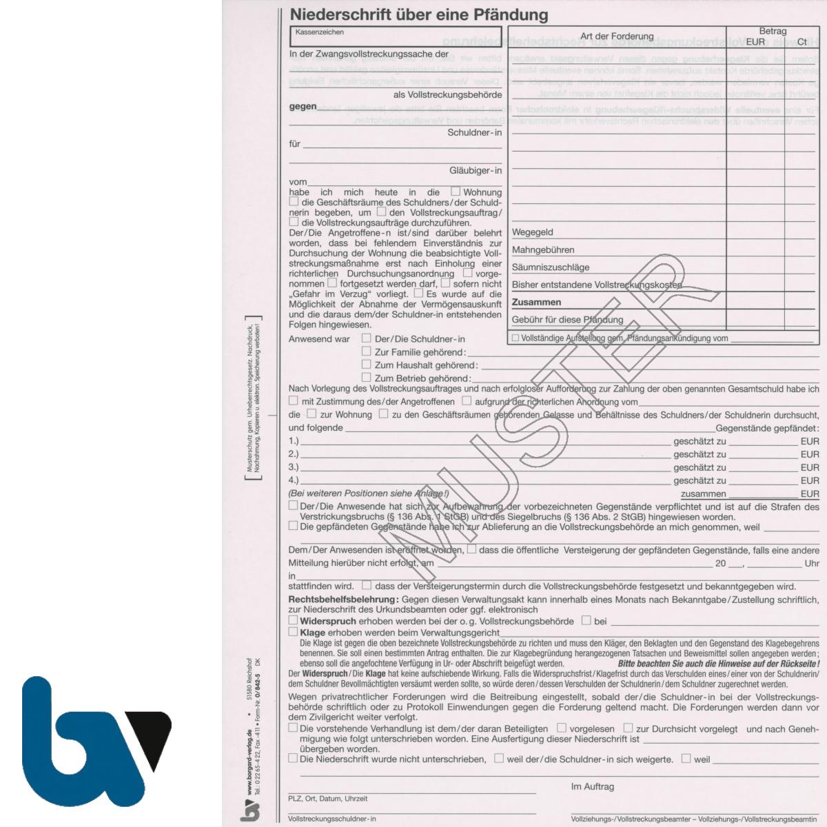 0/842-5 Niederschrift Sach Pfändung Vollstreckung Einschlagdeckel Durchschreibeschutz Schreibschutzdeckel perforiert 2-fach selbstdurchschreibend DIN A4 Vorderseite | Borgard Verlag GmbH