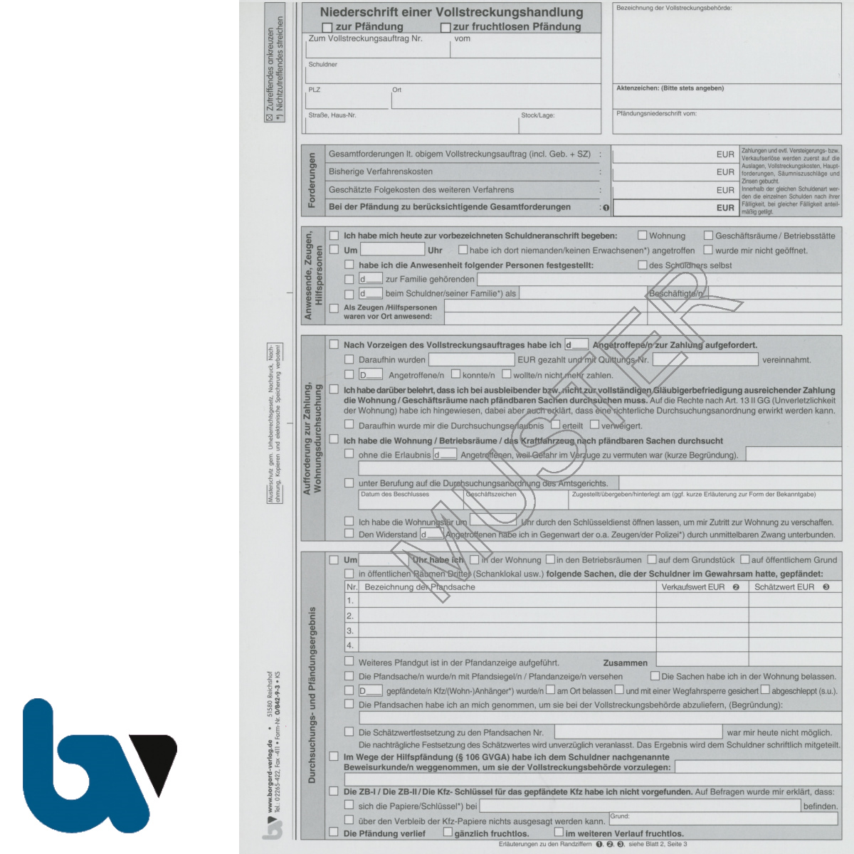 0/842-9.3 Niederschrift Bericht erfolglos fruchtlos Pfändung Einschlagdeckel Durchschreibeschutz Schreibschutzdeckel perforiert 2 mal 2-fach selbstdurchschreibend DIN A4 Seite 1 | Borgard Verlag GmbH