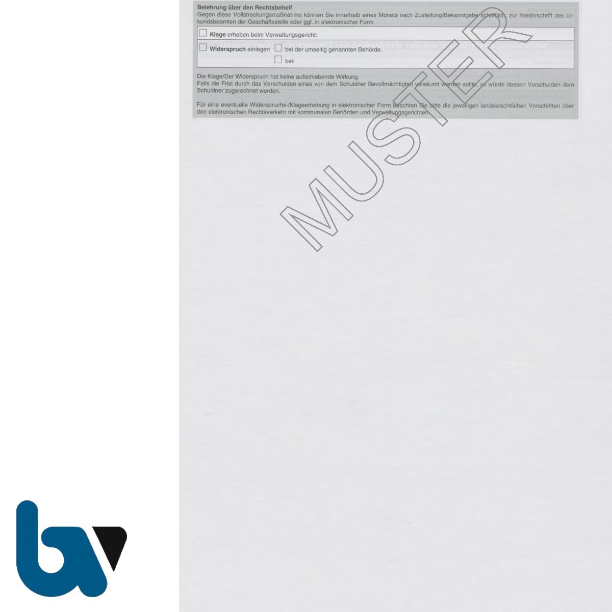 0/845-2 Niederschrift erfolglos fruchtlos Pfändung Versuch 3-fach selbstdurchschreibend DIN A4 Rückseite | Borgard Verlag GmbH