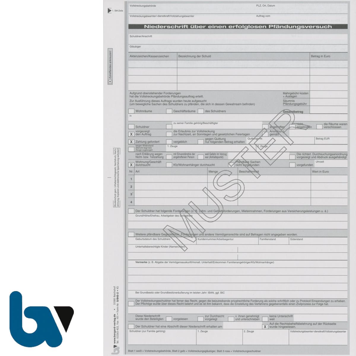 0/845-2 Niederschrift erfolglos fruchtlos Pfändung Versuch 3-fach selbstdurchschreibend DIN A4 Vorderseite | Borgard Verlag GmbH