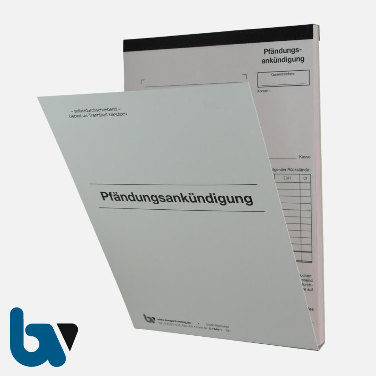 0/846-1 Pfändungsankündigung Auftrag Einschlagdeckel Durchschreibeschutz Schreibschutzdecke perforiert 2-fach selbstdurchschreibend DIN A5 Außen | Borgard Verlag GmbH