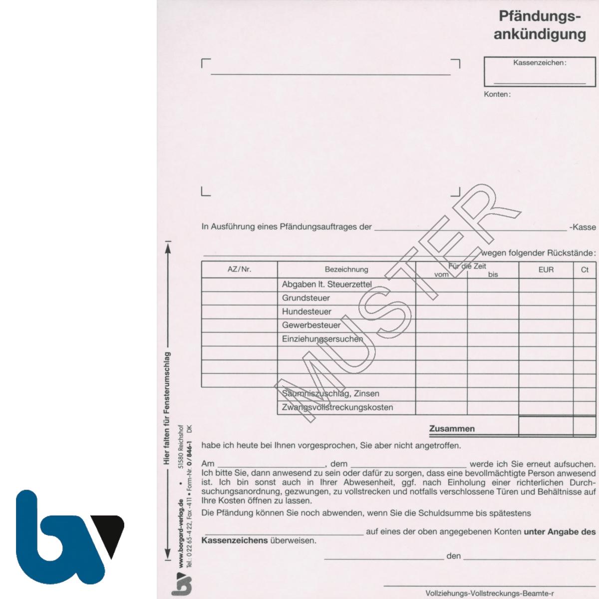 0/846-1 Pfändungsankündigung Auftrag Einschlagdeckel Durchschreibeschutz Schreibschutzdecke perforiert 2-fach selbstdurchschreibend DIN A5 | Borgard Verlag GmbH