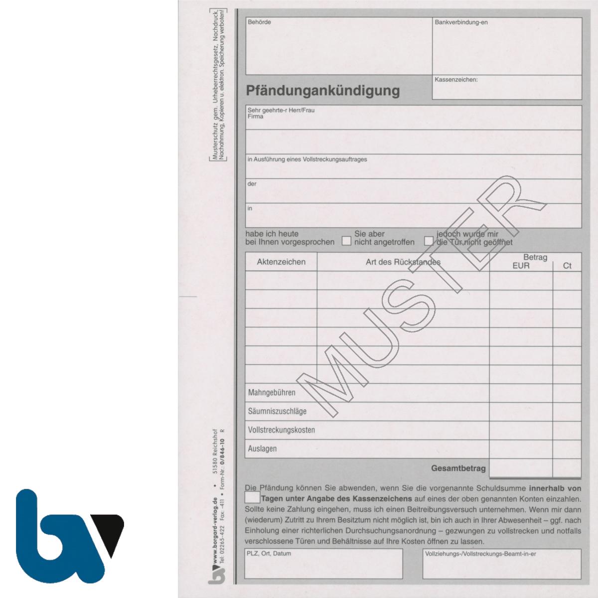 0/846-10 Pfändungsankündigung Vollstreckungsauftrag 2-fach selbstdurchschreibend DIN A5 | Borgard Verlag GmbH