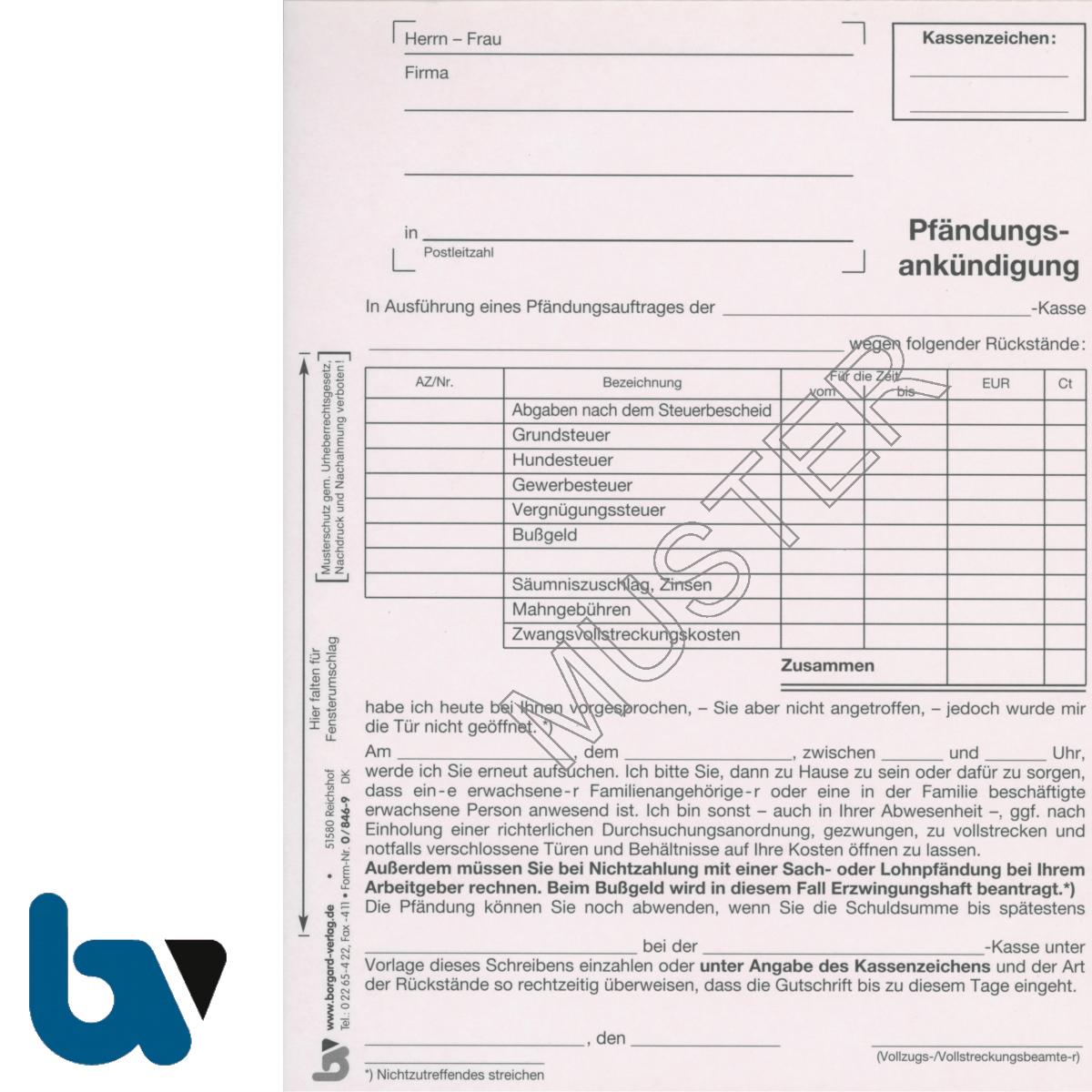 0/846-9 Pfändungsankündigung Auftrag Einschlagdeckel Durchschreibeschutz Schreibschutzdecke perforiert 2-fach selbstdurchschreibend DIN A5 | Borgard Verlag GmbH
