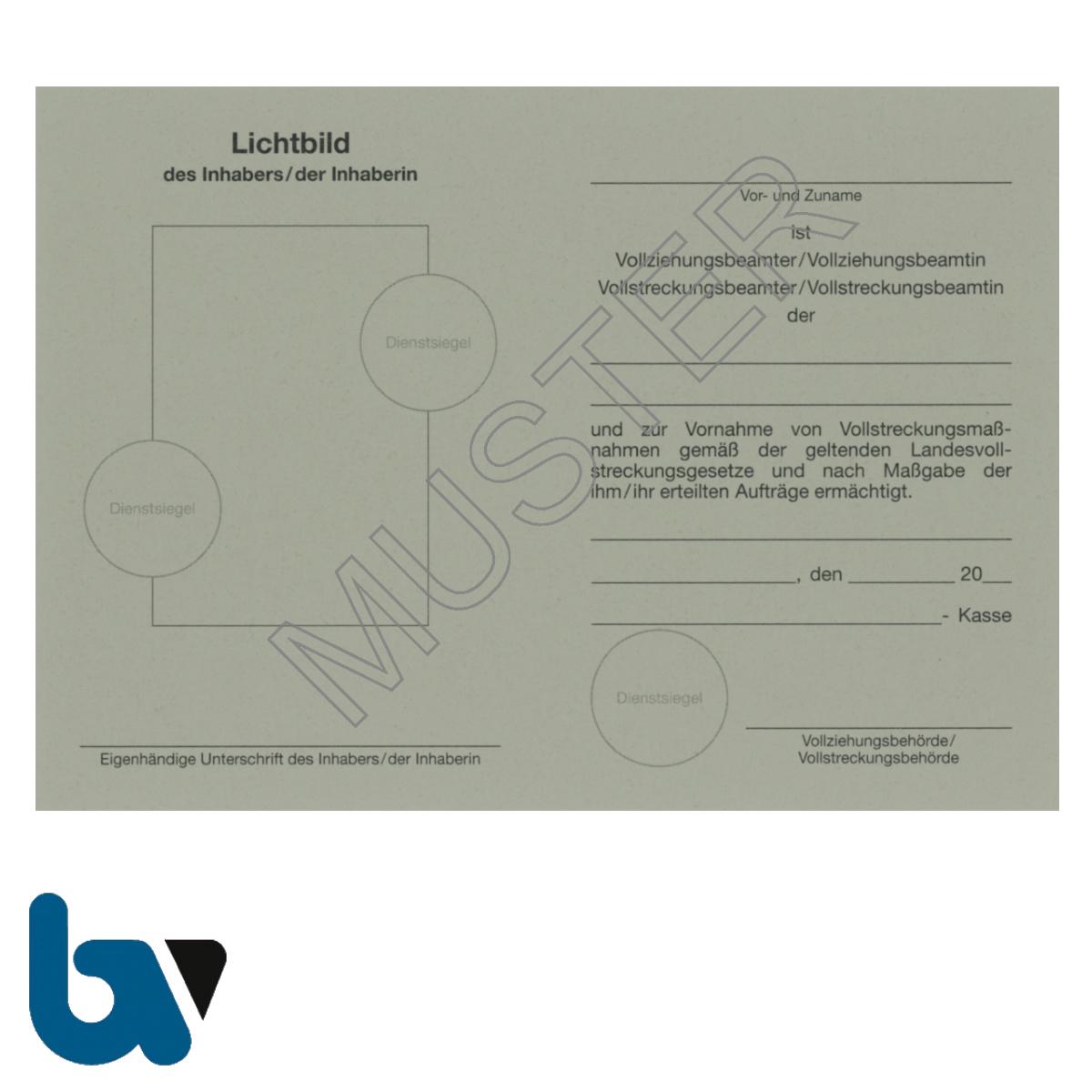 0/881-1 Dienstausweis Vollziehungs Vollstreckung Beamter Beamtin Vollstreckungsmaßnahme bundesweit grau Neobond DIN A6 A7 Rückseite | Borgard Verlag GmbH