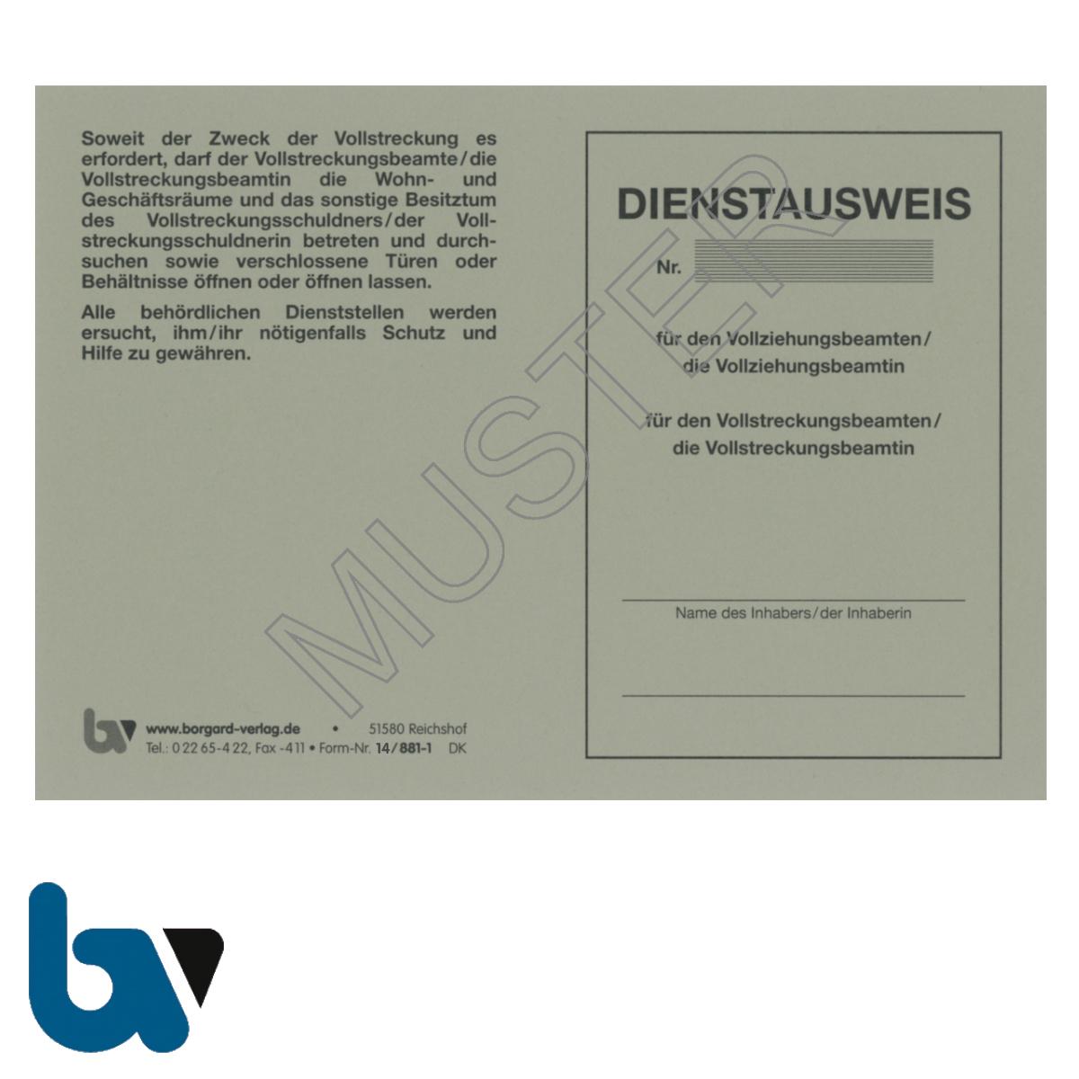 14/881-1 Dienstausweis Vollziehungs Vollstreckung Beamtin Beamter Sachsen-Anhalt Vollstreckungsmaßnahme bundesweit grau Neobond DIN A6 A7 Vorderseite | Borgard-Verlag GmbH