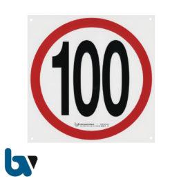 3/442-11 Plastik Kunststoff Schild Tempo 100 Befestigung Lochung rot-schwarz 210mm | Borgard Verlag GmbH