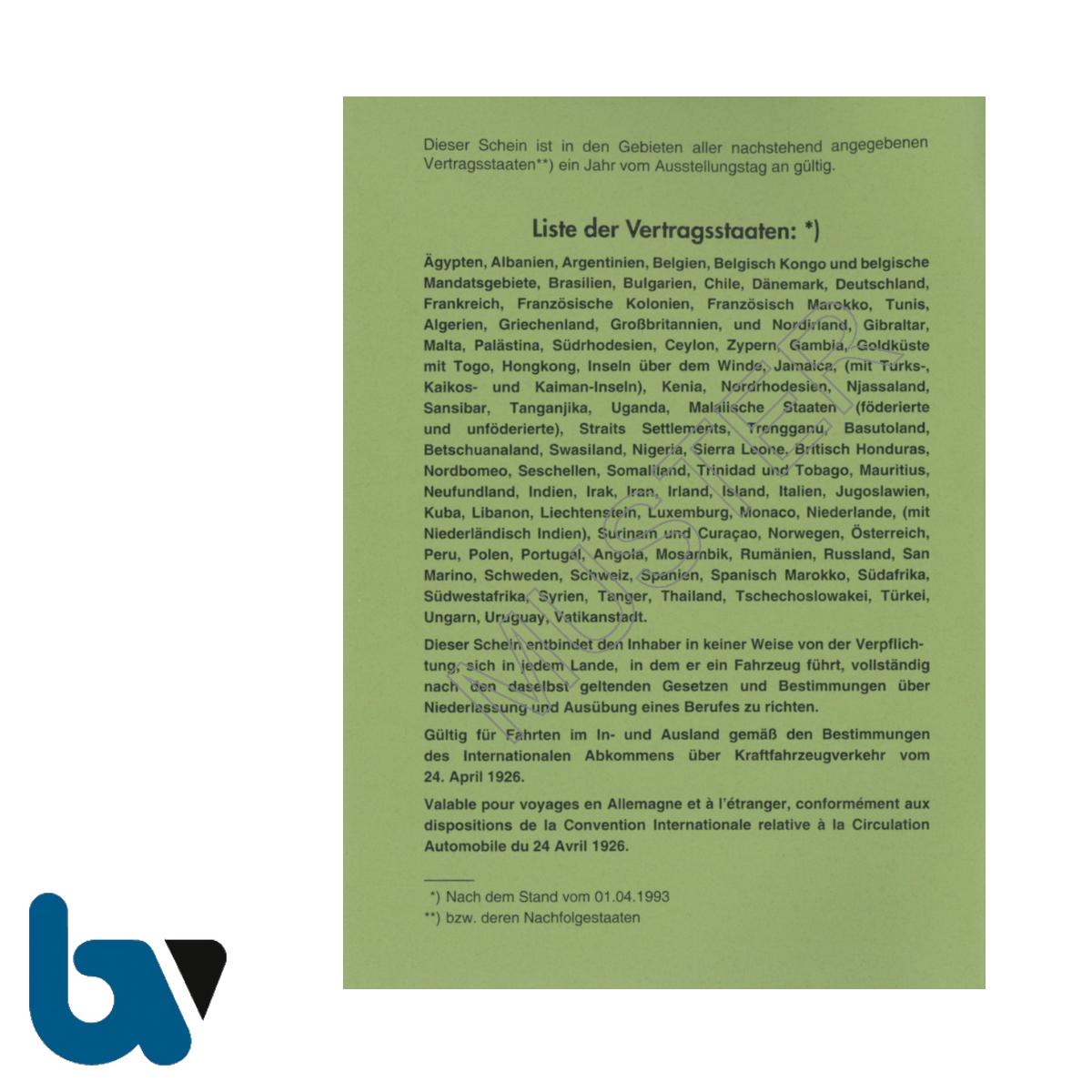 406 Internationaler Zulassungsschein Abkommen 1926 Vertragsstaaten Neobond grün 38 Seiten geheftet DIN A6 Seite 1 | Borgard Verlag GmbH