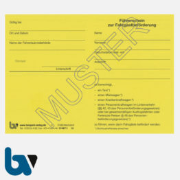 0/487-1 Führerschein zur Fahrgastbeförderung Taxi Mietwagen Personenkraftwagen gelb Neobond DIN A6 Vorderseite | Borgard Verlag GmbH