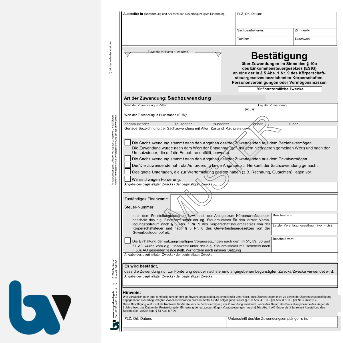 0/826-5 Bestätigung Sach-Zuwendung Mitgliedsbeitrag Spende Behörden Muster-Paragraph 10b Einkommensteuergesetz EStG 2fach selbstdurchschreibend DIN A4