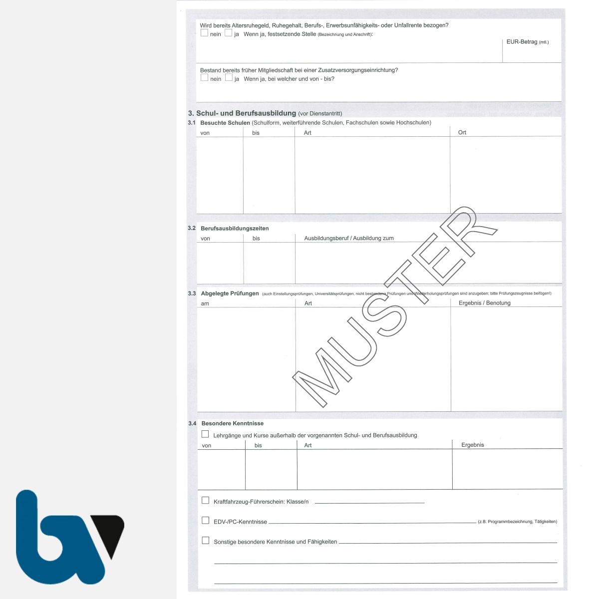13/112-10 Personalbogen Beamtin Beamter Beschäftigte Öffentlicher Dienst Doppelbogen Thüringen DIN A4 Seite 2 | Borgard Verlag GmbH