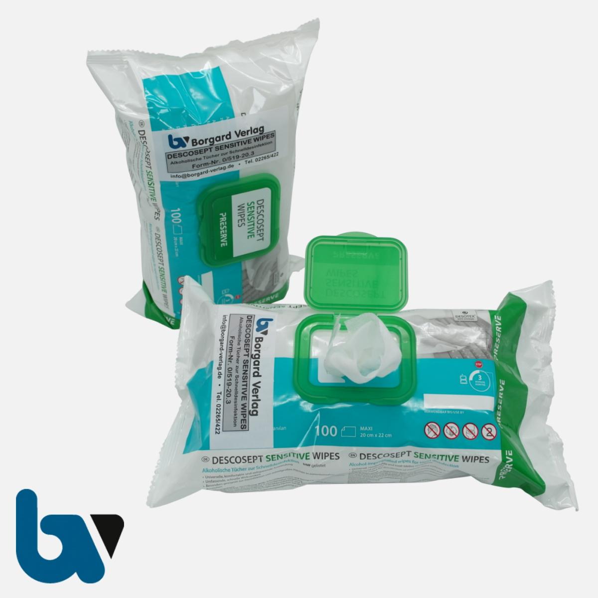 0/519-20.3 Descosept Sensitive Wipes Desinfektion Alkohol schnell Tuecher Spender Packung antibakteriell Oberflächen 100 Stück