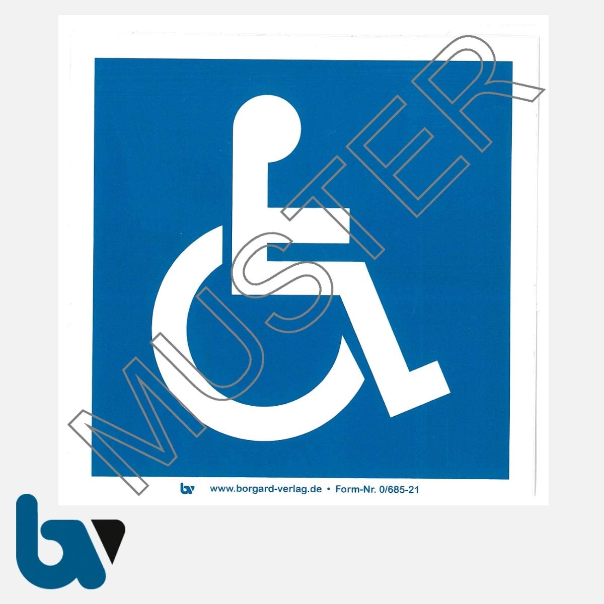 0/685-21 Innen-Aufkleber mit Rollstuhlfahrer-Symbol selbstklebend geschlitzt Vorderseite | Borgard Verlag GmbH
