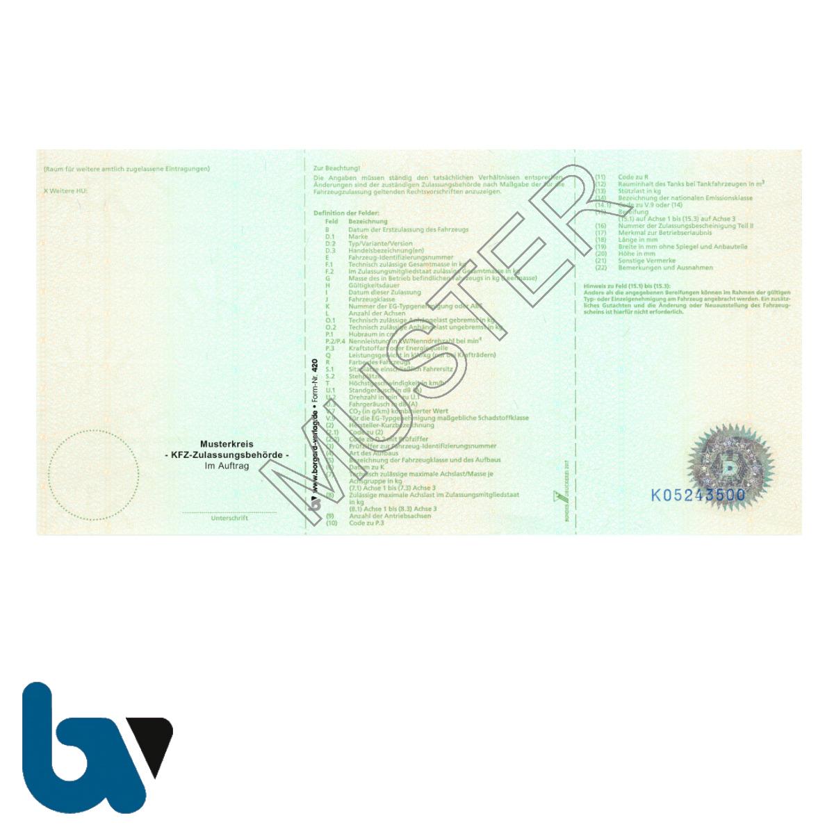 420 Fahrzeugschein für Fahrzeuge mit Kurzzeitkennzeichen Anlage 10 Paragraph 16a Absatz 5 FZV Fahrzeug Zulassungsverordnung Neobond | Borgard Verlag GmbH
