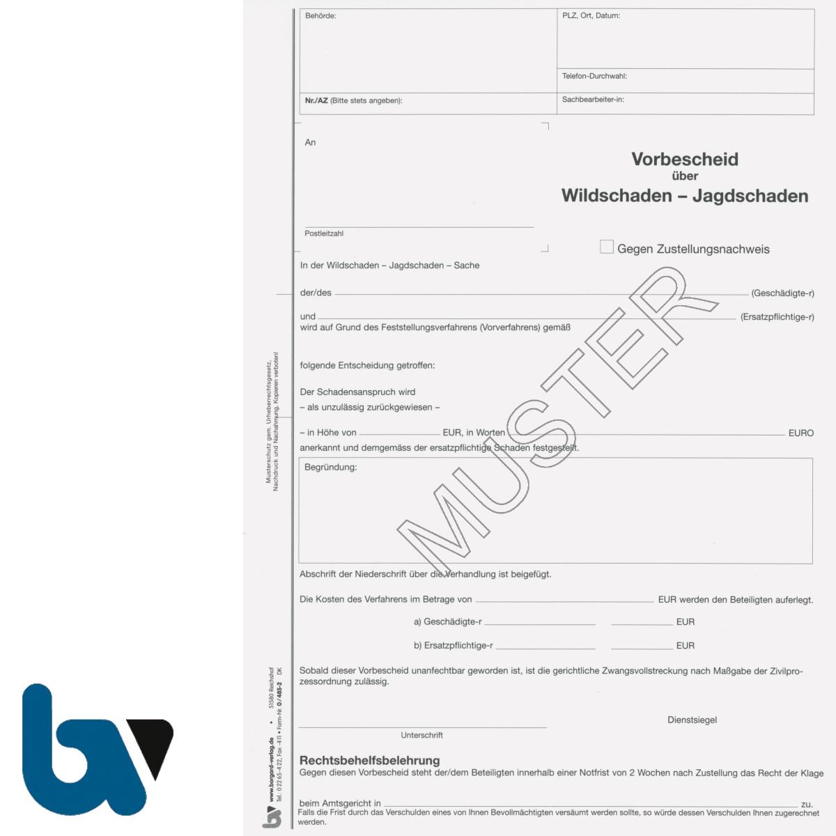 0/485-2 Vorbescheid über Wildschaden 4-fach selbstdurchschreibend DIN A4   Borgard Verlag GmbH