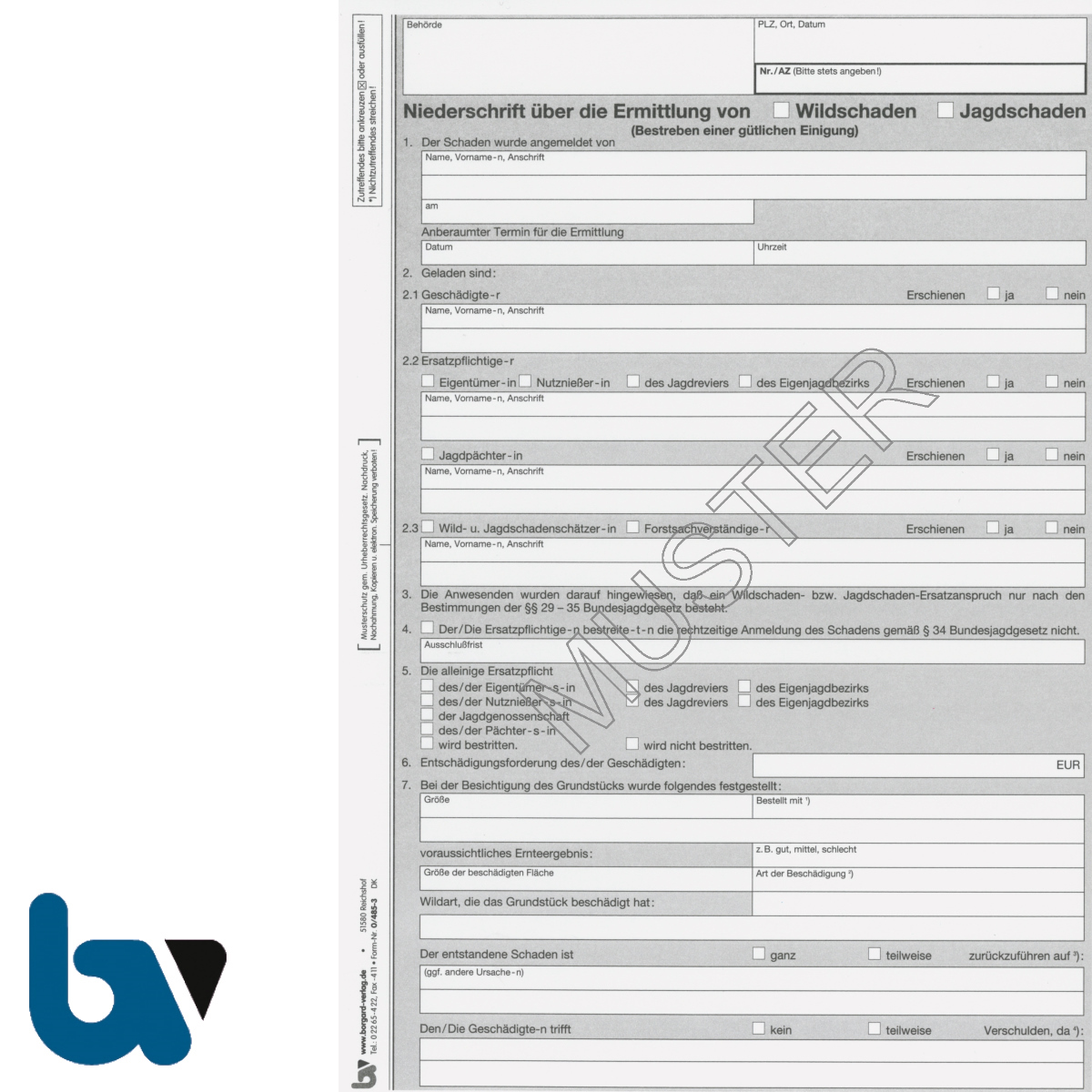 0/485-3 Niederschrift Ermittlung Wildschaden Jagdschaden 4-fach selbstdurchschreibend DIN A4 Seite 1   Borgard Verlag GmbH