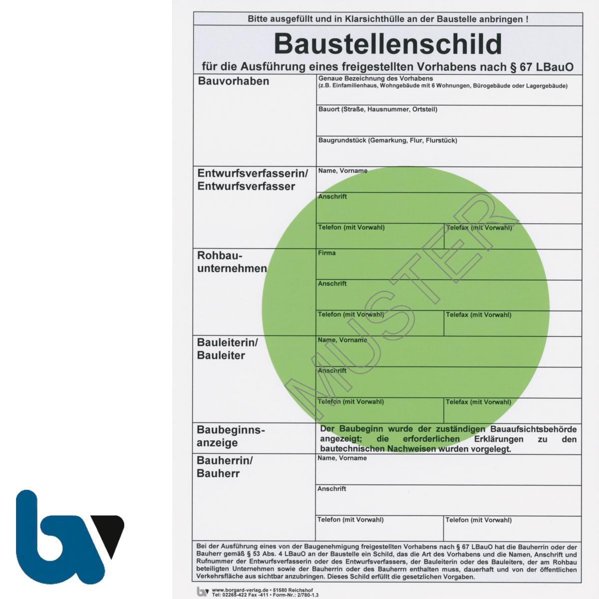 2/780-1.3 Baustellenschild grüner Punkt RLP Bauordnung LBauO Freigestellt Vorhaben Karton DIN A4 Vorderseite | Borgard Verlag GmbH