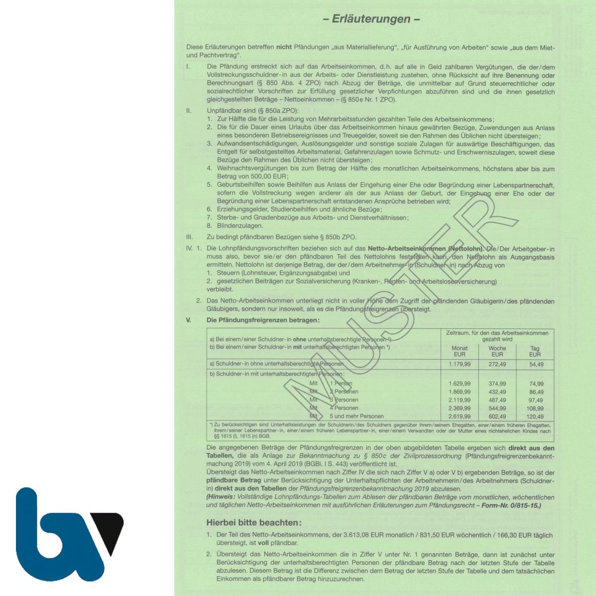 4/815-1 Pfändung Einziehung Verfügung Lohn Gehalt fortlaufende Bezüge Niedersachsen ZPO NVwVG 4-fach selbstdurchschreibend DIN A4 Rückseite | Borgard Verlag GmbH