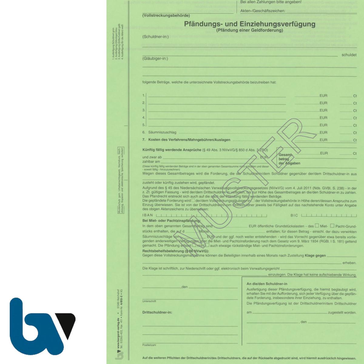 4/815-2 Pfändung Einziehung Verfügung Geldforderung Niedersachsen Vollstreckung ZPO NVwVG 4-fach selbstdurchschreibend DIN A4 Vorderseite | Borgard Verlag GmbH