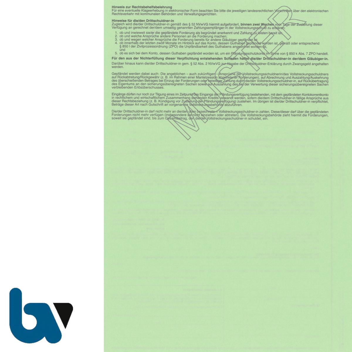 4/815-3 Pfändung Einziehung Verfügung Kontopfändung Niedersachsen Vollstreckung ZPO NVwVG 4-fach selbstdurchschreibend DIN A4 Rückseite | Borgard Verlag GmbH