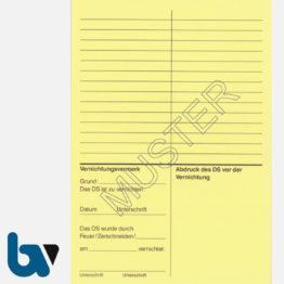 0/191-5 Dienstsiegel Nachweiskarte Übergabe Übernahme Karton gelb DIN A6 Rückseite | Borgard Verlag GmbH