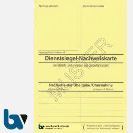 0/191-5 Dienstsiegel Nachweiskarte Übergabe Übernahme Karton gelb DIN A6 Vorderseite | Borgard Verlag GmbH