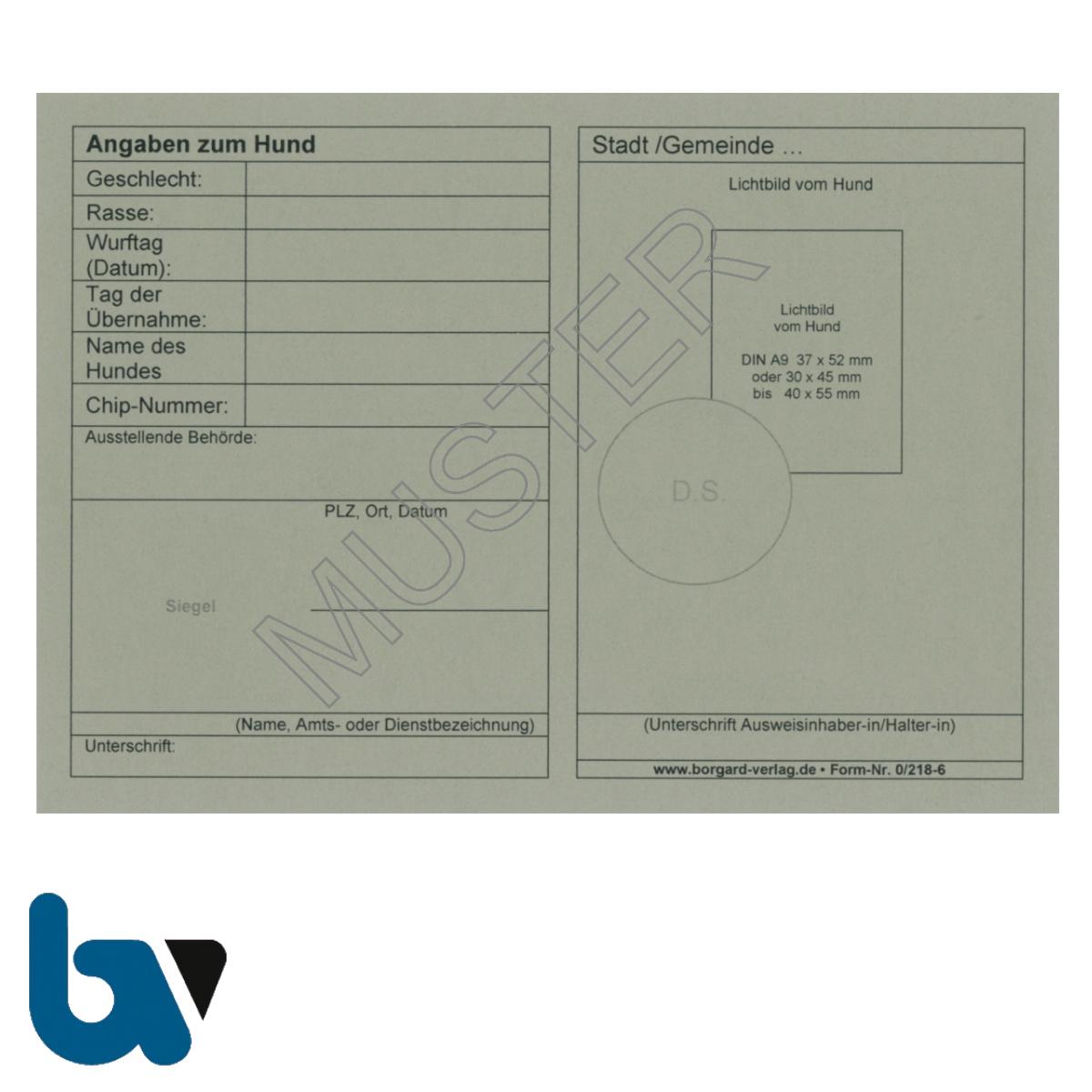 0/218-6 Ausweis Haltung Führung gefährlich Hund neutral grau Neobond DIN A6 A7 Rückseite   Borgard Verlag GmbH