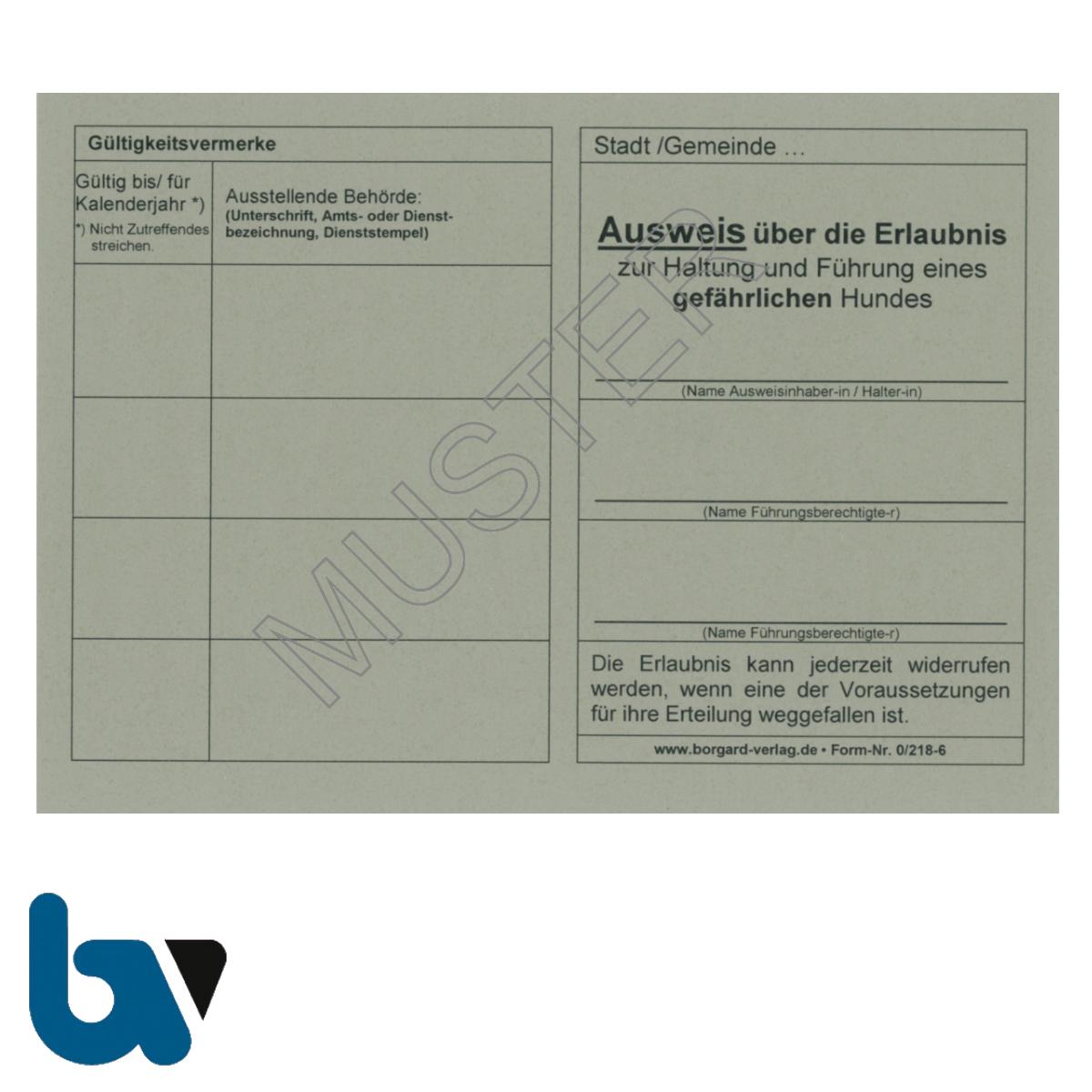0/218-6 Ausweis Haltung Führung gefährlich Hund neutral grau Neobond DIN A6 A7 Vorderseite   Borgard Verlag GmbH