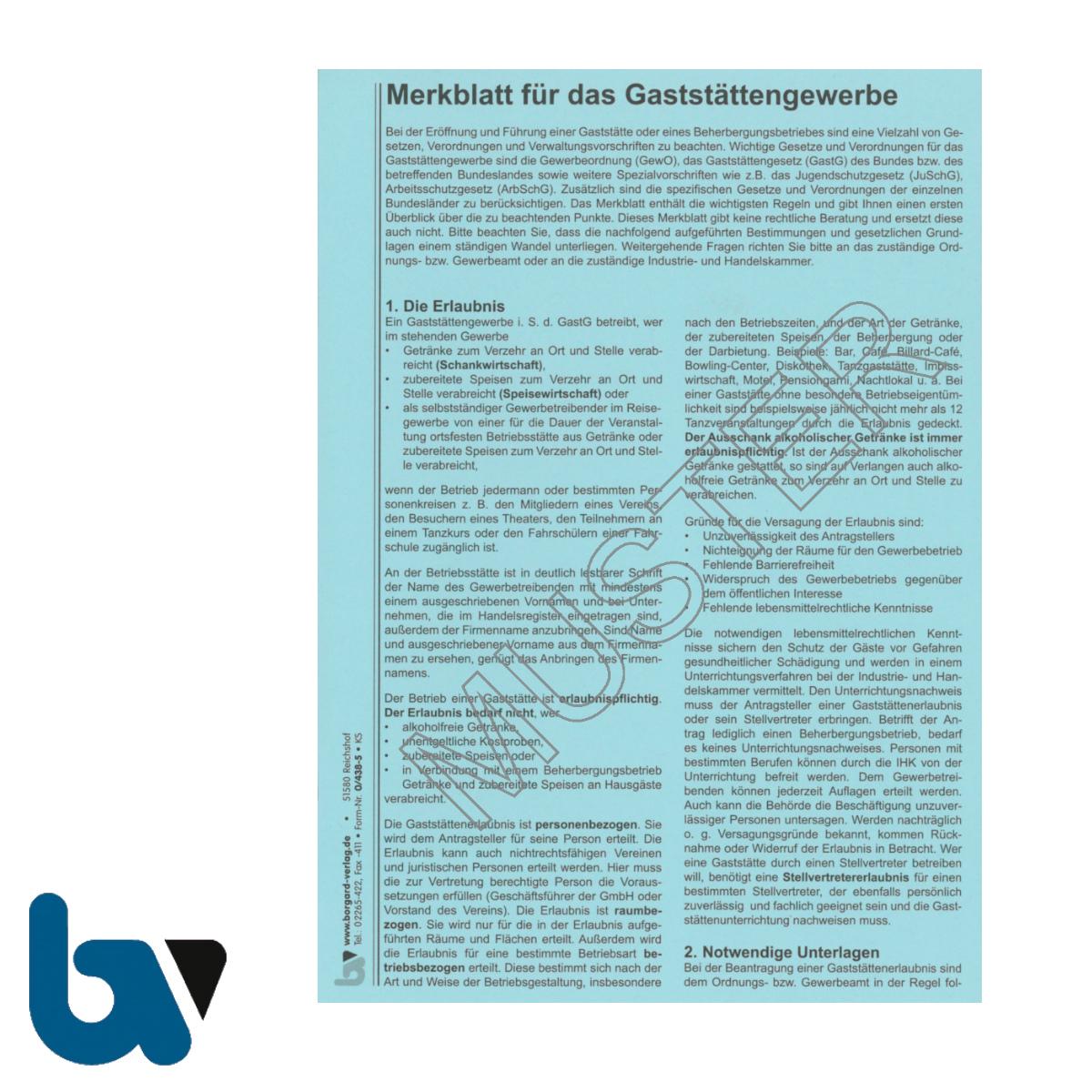 0/438-5 Merkblatt Gaststätte Gewerbe Gaststättengesetz Gewerbeordnung Jugendschutz Infektionsschutz Karton Heft DIN A5 Vorderseite | Borgard Verlag GmbH