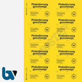 0/449-2.1 Aufkleber Plakatierung Genehmigt Muster leucht gelb 75 x 50 mm selbstklebend Bogen 10 Stück DIN A4 | Borgard Verlag GmbH