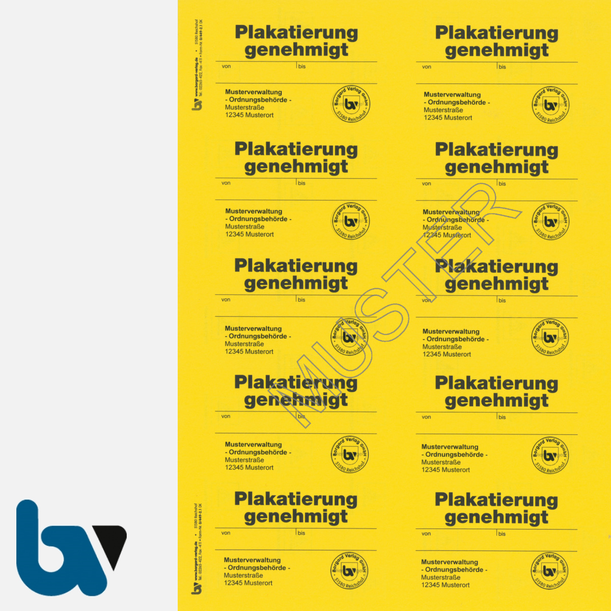 0/449-2.1 Aufkleber Plakatierung Genehmigt Muster leucht gelb 75 x 50 mm selbstklebend Bogen 10 Stück DIN A4   Borgard Verlag GmbH