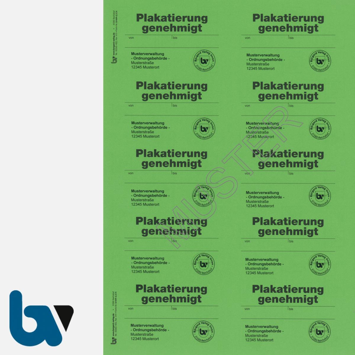 0/449-2.2 Aufkleber Plakatierung Genehmigt Muster leucht grün 75 x 50 mm selbstklebend Bogen 10 Stück DIN A4 | Borgard Verlag GmbH