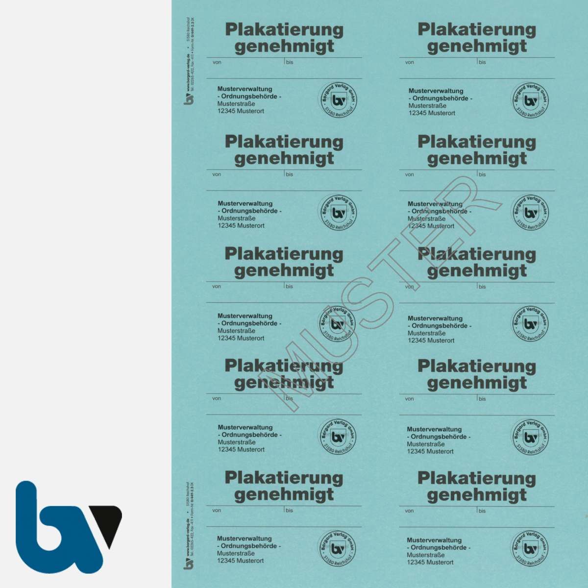 0/449-2.3 Aufkleber Plakatierung Genehmigt Muster leucht blau 75 x 50 mm selbstklebend Bogen 10 Stück DIN A4   Borgard Verlag GmbH