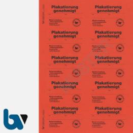 0/449-2 Aufkleber Plakatierung Genehmigt Muster leucht rot 75 x 50 mm selbstklebend Bogen 10 Stück DIN A4 | Borgard Verlag GmbH