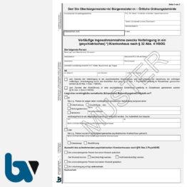 3/443-1 Vorläufige Ingewahrsamnahme Verbringung Krankenhaus Paragraph 32 HSOG Hessen 4 fach selbstdurchschreibend DIN A4 Seite 1 | Borgard Verlag GmbH