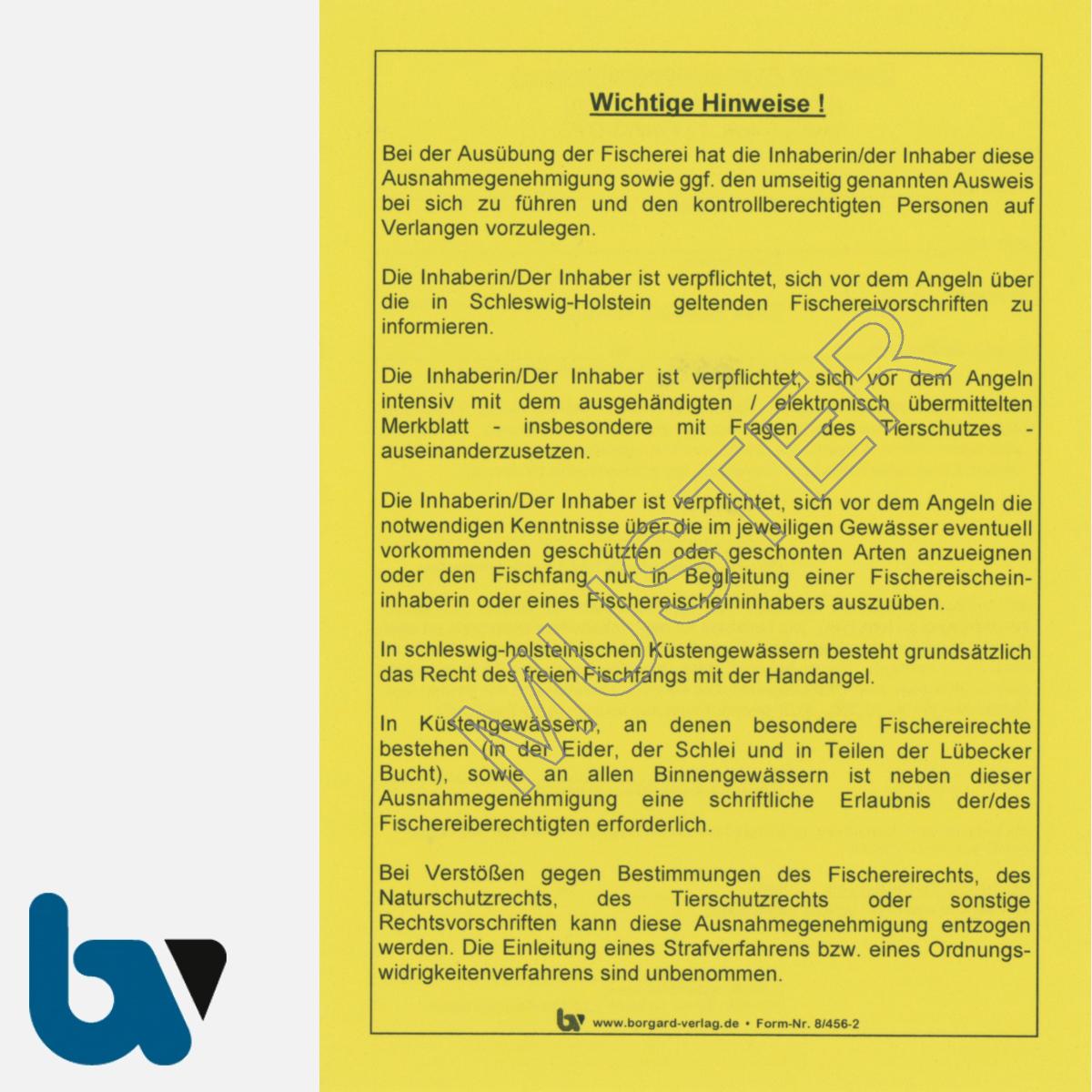 8/456-2 Ausnahmegenehmigung Schleswig Holstein §5 Fischereigesetz Muster DIN A6 Neobond gelb Rückseite   Borgard Verlag GmbH