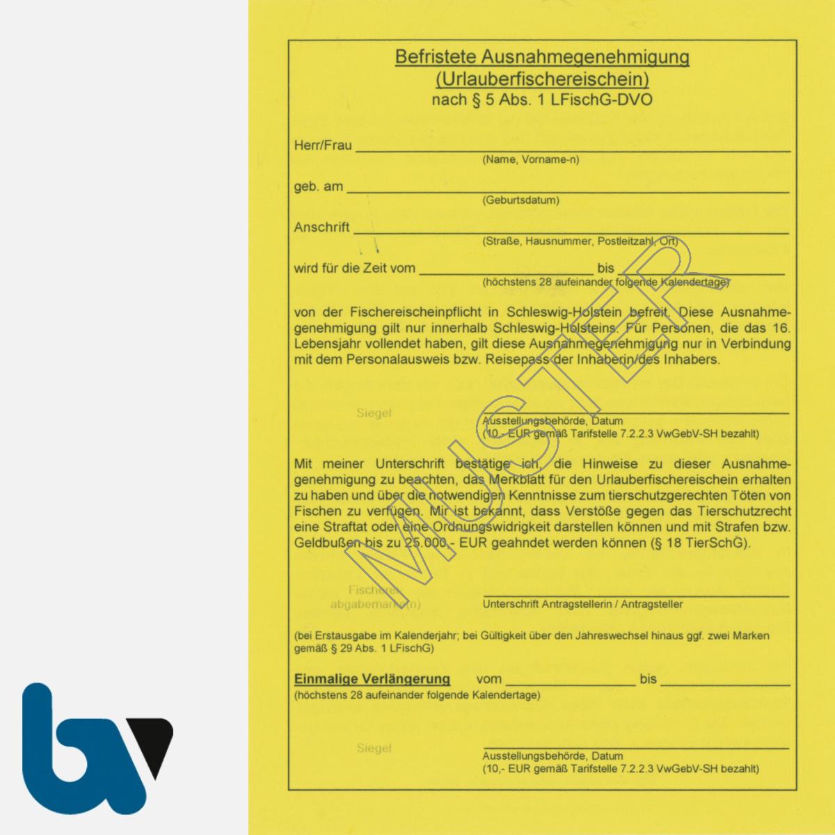 8/456-2 Ausnahmegenehmigung Schleswig Holstein §5 Fischereigesetz Muster DIN A6 Neobond gelb Vorderseite   Borgard Verlag GmbH